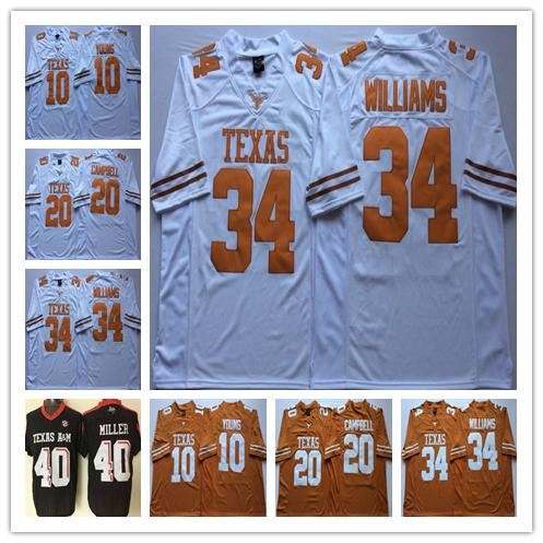 Texas Longhorns College Football 7 Shane Buechele maglia 10 Vince Young 20 Earl Campbell 34 Ricky Williams 12 Colt McCoy 98 Brian Orakpo