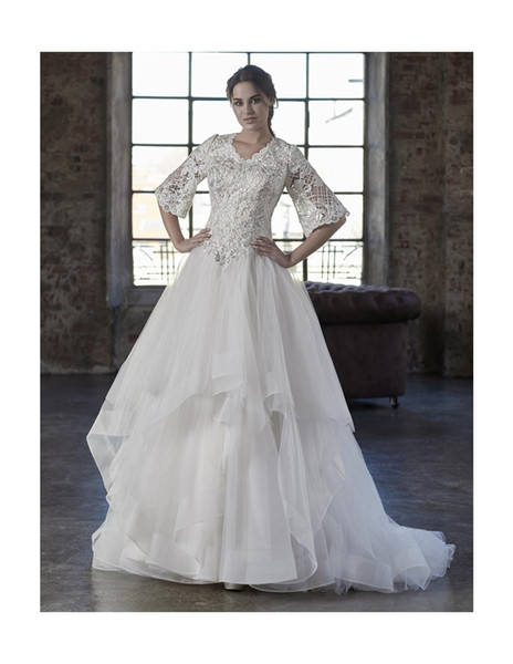 2019 New Lace Modest Wedding Dresses With Bell Sleeves V Neck Buttons Back Beaded Lace Top Ruffles Skirt LDS Modest Bridal Gowns Custom Made