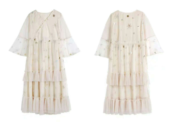Smile to the warm French retro dress yamamoto super fairy dress mesh embroidered lace dress 2019 new women's wear