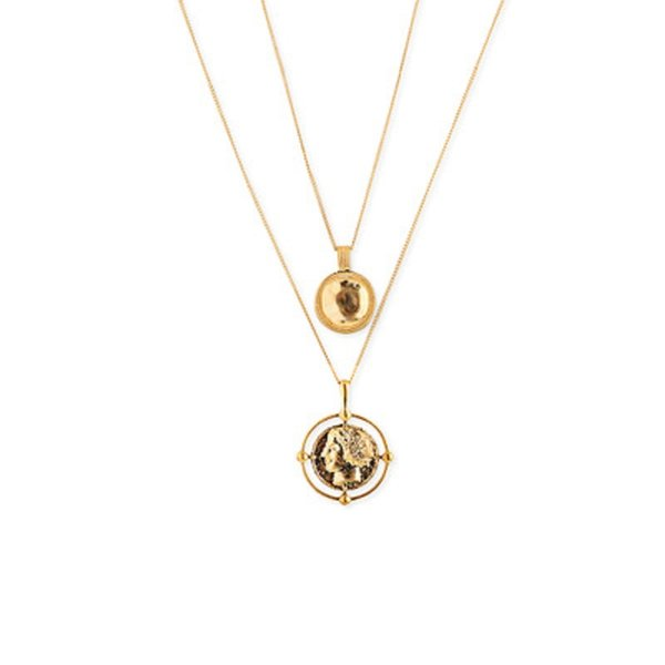 Retro Gold Coin Character Pendant Necklaces for Women Bohemian Female Double Layer Necklace Beach Party Jewelry Gifts Wholesale DHL