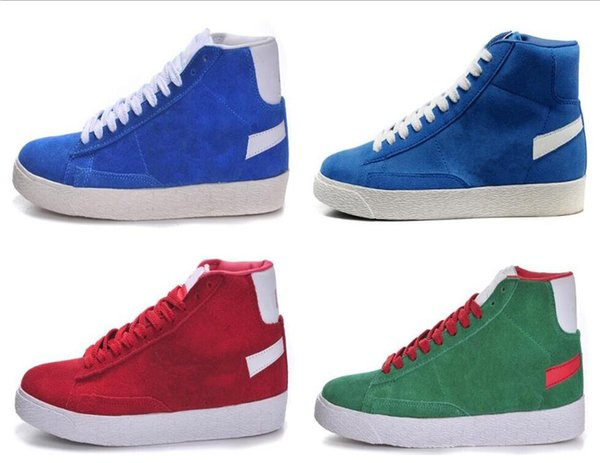 2018 Blazers Low PRM Skateboarding Shoes Mens Women Black Blue Red Blue Pure Color Casual Shoes Sneakers