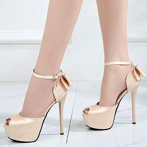 6cebe4bb5ce Luxury women designer pumps light gold red bowtie satin wedding shoes  platform thin high heels 12cm
