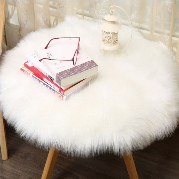 1 pc Soft Artificial Sheepskin Rug Chair Cover Artificial Wool Warm Hairy Carpet Seat Pad Modern Style Home Decoration Q4 D19011201