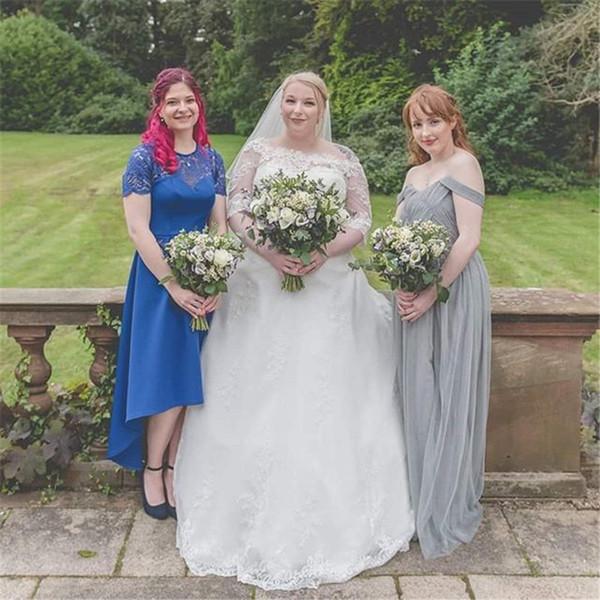 Alças Tulle vestidos de casamento Boho Jardim com Long Train Vestido de Noiva Custom Made Country Style