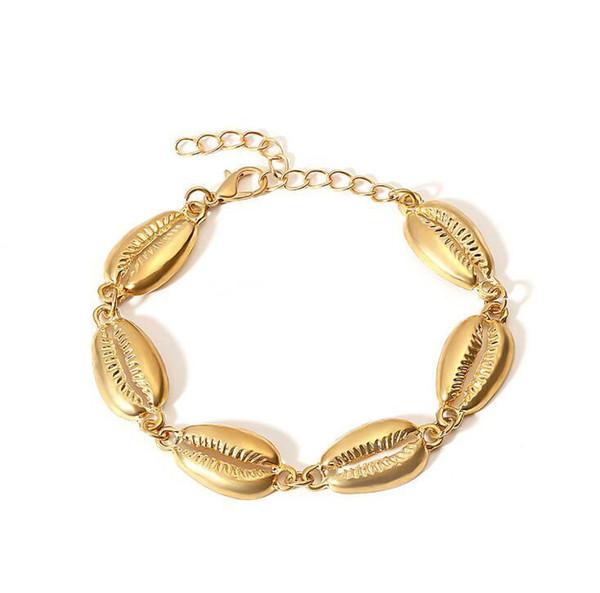 Nueva forma de conchas marinas pulsera de cadena de oro pulsera de concha de moda para las mujeres simples de verano regalo de la joyería de vacaciones de playa para niñas