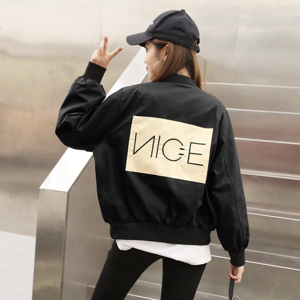 Fashion Stylish Embroidery Letter Patch Designs Loose Casual Ladies Jackets and Coats Zipper Cardigans Jacket For Women Spring