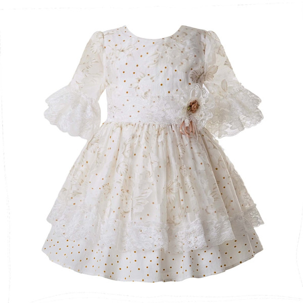 Pettigirl New Spring White Dot Ceremony Girls Dresses Lace Pageant Dress For Wedding Party Mesh Kids Boutique Clothing G-DMGD107-C57