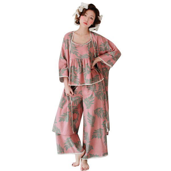 Pajamas Sleepwear Three-Piece Sets Cotton Lounge Wear Floral Robe Cami Top Pants Pajamas Set Autumn Loose Print Homewear