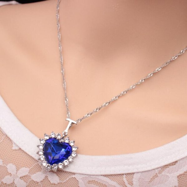 Titanic Heart Of The Ocean Sapphire Blue CZ Crystal Necklace Pendant Jewelry K3490