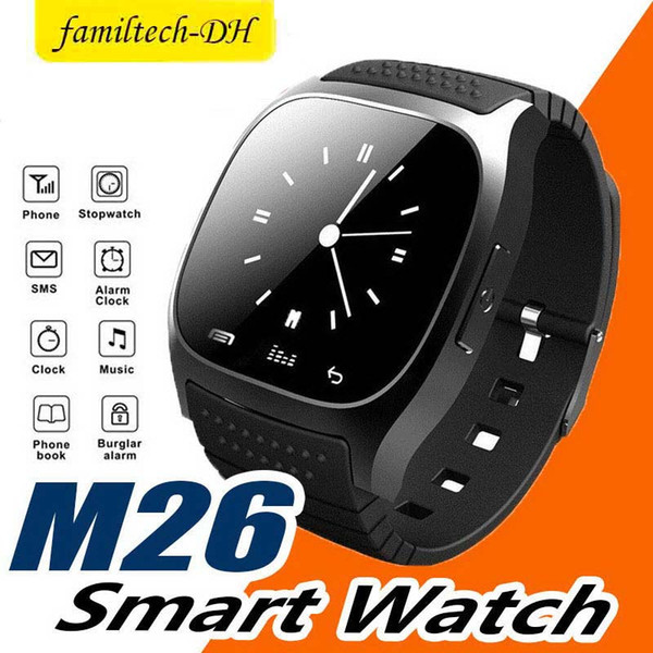 M26 Bluetooth Smart Watch With SIM Card Slot NFC Health Watchs For Android and IOS Apple Iphone Smartphone Cradle Design free DHL
