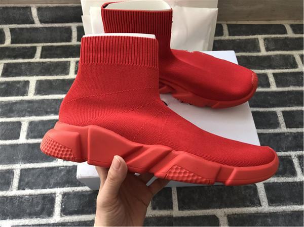 2018 Luxury Designer Shoes Speed Trainer Black Red Triple Black Flat Fashion Socks Boots Sneaker Speed Trainer shoes 35-45