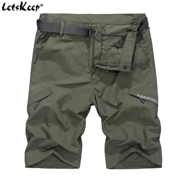 Letskeep Summer Waterproof Military Men Thin Material Cargo Short Pants Plus Size Elastic Shorts With Belt 4xl, A207 J190506
