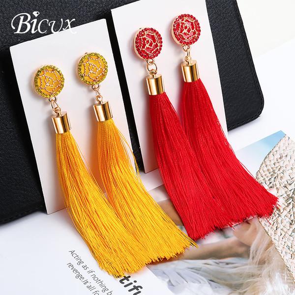 BICUX Fashion Bohemian Tassel Crystal orecchini lunghi bianco rosso tessuto di seta goccia ciondola gli orecchini nappa per le donne 2019 gioielli