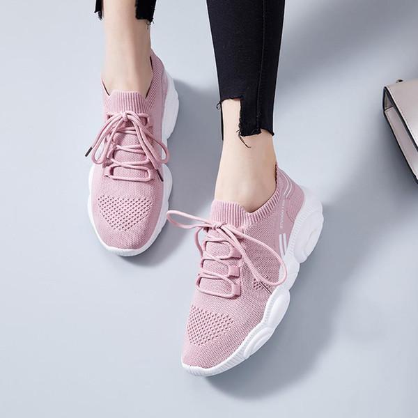 Mujeres Zapatos Casual Niza vuelo tejido de las zapatillas de deporte de las mujeres del verano de los zapatos ocasionales atan para arriba las zapatillas de deporte vulcanizado Tenis Femenino