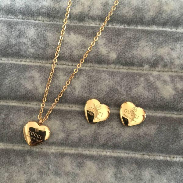 best selling 18K gold rose silver girls women letter heart flower love Jewelry Sets Fashion letter pendant Necklace earrings Wholesale Christmas gift