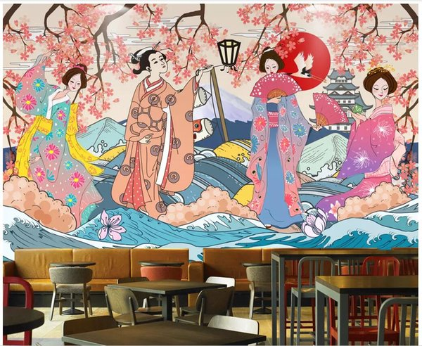 3d wallpaper custom photo Vintage hand-painted Japanese style sushi restaurant living room home decor 3d wall murals wallpaper for walls 3 d