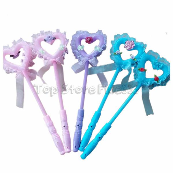 LED Angel Stick Toys Led Varitas mágicas Flash Fairy Angel Alas del corazón Varita Vestido de lujo Resplandor Palos Fiesta Iluminar Atmósfera apoyos Accesorios