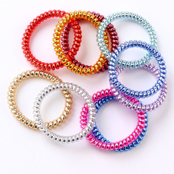 Metallic Punk Telephone Wire Coil Gum Elastic Band Girls Hair Tie Rubber Pony Tail Holder