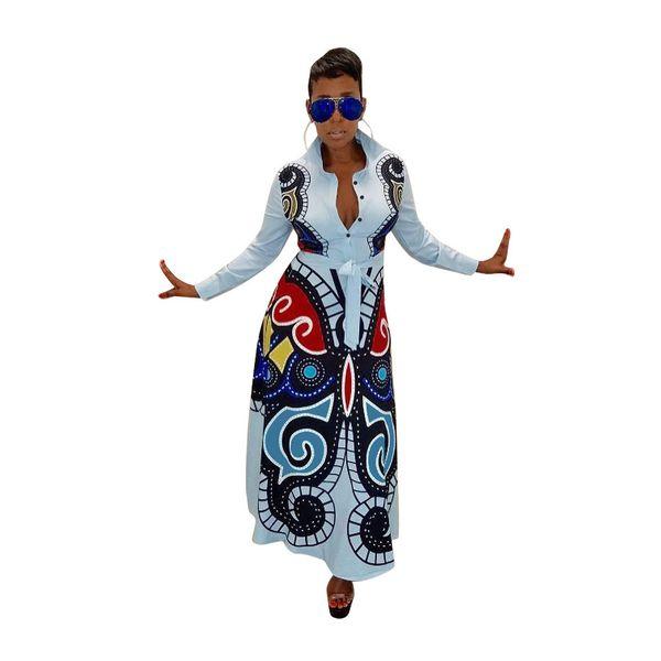 S-XXXL Women New 3D Butterfly Printed Long Sleeve Turn-down Neck High Waist Fit Flare Long Maxi Dress Casual Vestidos GLD8239 T5190615