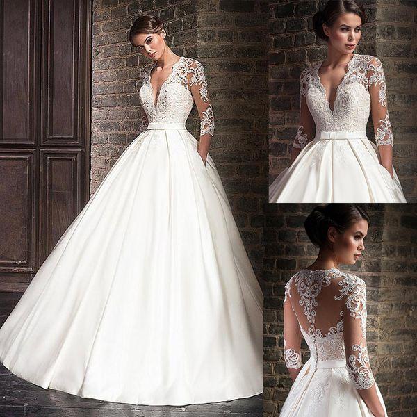 Marvelous Satin V-neck A-line Wedding Dresses With Lace Appliques Half Sleeves Bridal Dress With Pocket Vestidos De Formatura Y19073001