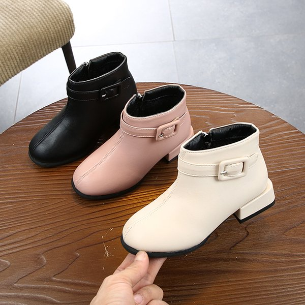 New Autumn Fashion Kids Boots For Girls Leather Children Rain Martin Boots Winter Casual Teenager Shoes 26-36 Short Martin