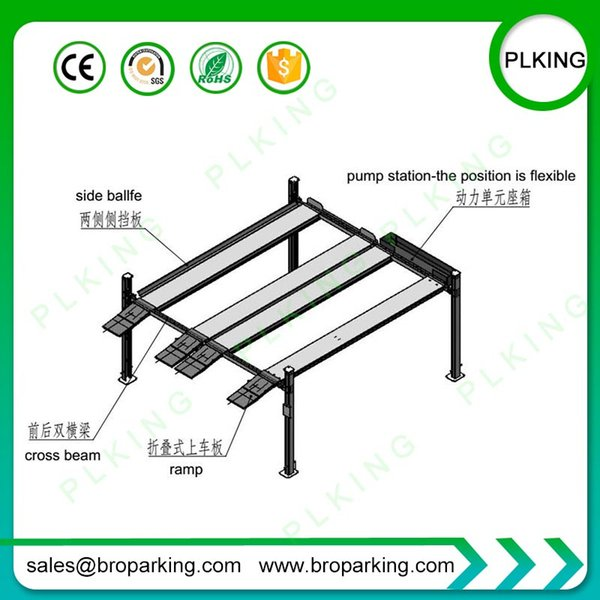 High Quality 4 Post 4 Cars Parking Lift Widely Used in Home and Public Garage
