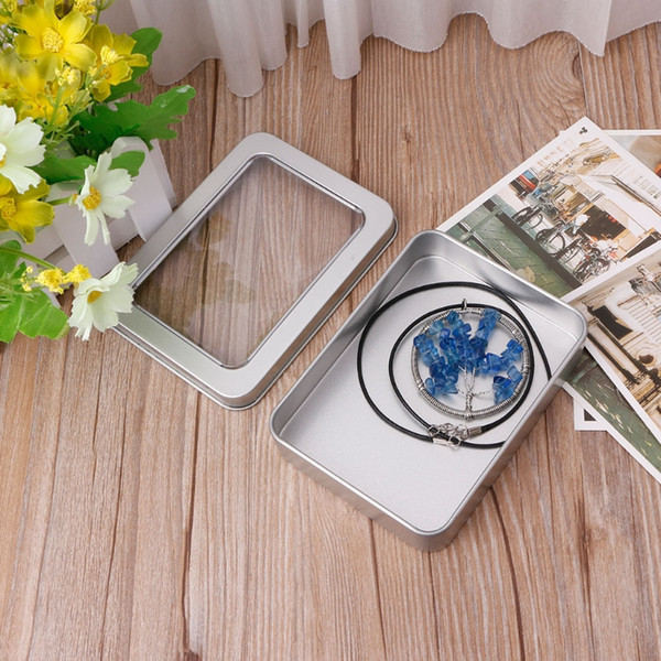 NEW Delicate Window Top Metal Tin Can Box Silver Blank Storage Case Crafts Survival Kit Clear Coin Candy Key