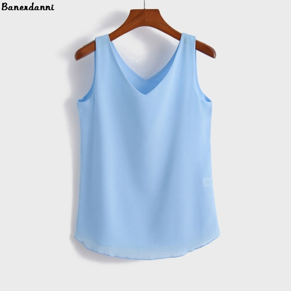 2019 Summer Fashion Female Chiffon Blouses Solid Sleeveless Women Shirts Loose V-nek Top Plus Sizes Candy Color Curve Apparel T3190613