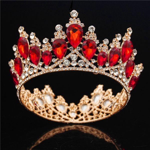 Baroque Gold Bride Crown Queen King Big Crown Tiara Prom Diadem Wedding Hair Jewelry Tiaras And Crowns Headband Hair Ornaments J190701