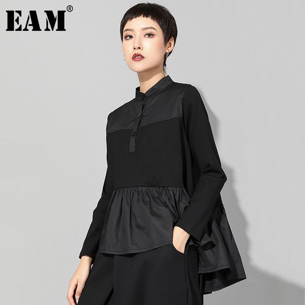 eam] 2019 new autumn winter stand collar long sleeve black loose hem pleated stitch irregular t-shirt women fashion tide jq016, White