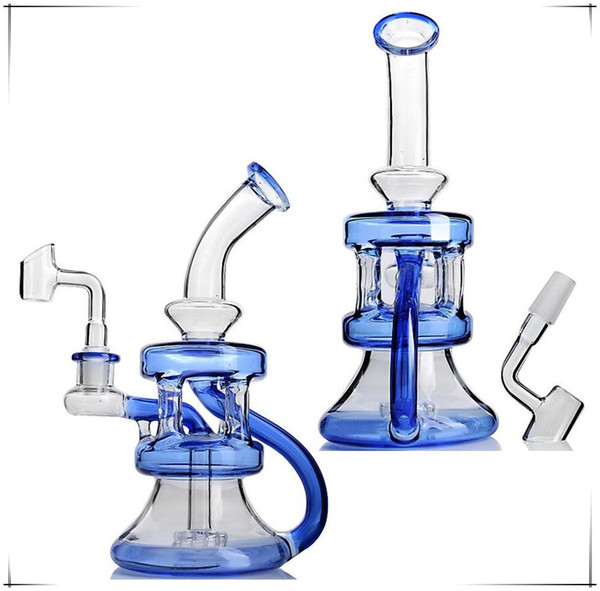 Mejor venta de Dab Rig azul tipo reflow hookah de cristal Conjunto de codo recto conjunto de cigarrillos alto 8. Bongs de vidrio de 2 pulgadas