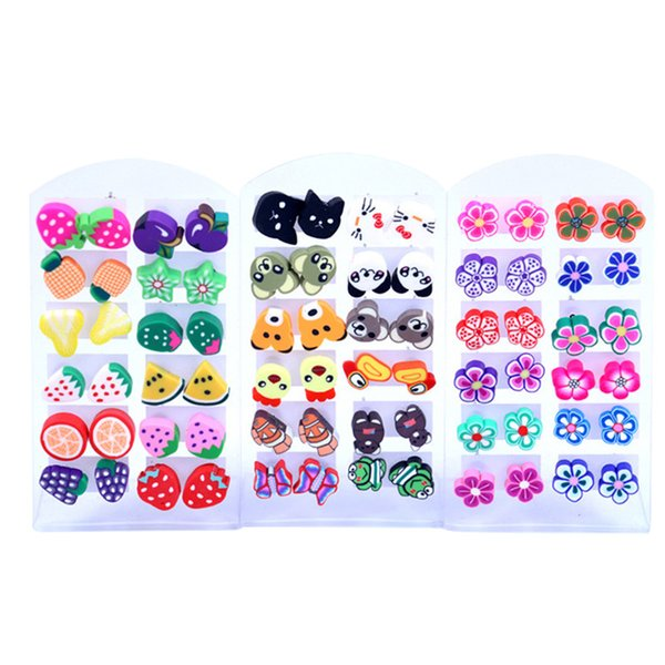 12 Pairs Wholesale Mixed Styles Fruits Earrings Handmade Fimo Polymer Clay For Baby Girls Children Birthday Gift