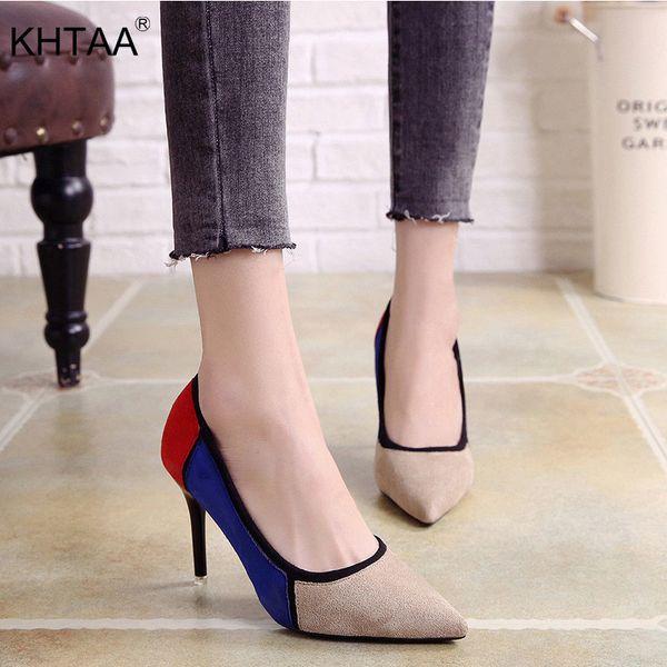 Zapatos de vestir de diseñador KHTAA Tacones altos de mujer Colores mezclados Flock Punta estrecha Mujer Sexy Tacón fino Moda Señoras Bombas Oficina