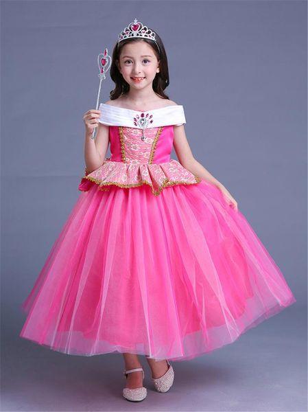 Fancy Princess Aurora Dress for Children Girls Sleeping Beauty Dress Disguise Child Costume Halloween Outfits Kids Fairy Wig