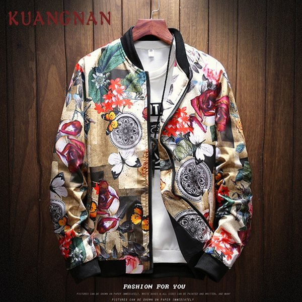 kuangnan japan style streetwear floral jacket men hip hop windbreaker 5xl men jacket clothing bomber clothes 2019 new - from $25.45