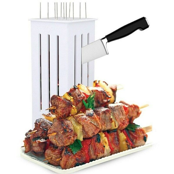Barbecue Meat Skewer Kebab Maker BBQ Kabob Maker Box Beef Meat Maker with 32 Bamboo Skewers BBQ Tools CCA11753 20pcs