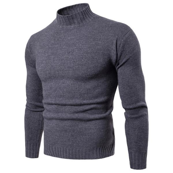 bearlittle / Dropshipping Hombres Suéteres 2018 Invierno Color Sólido de Cuello Alto Suéter de los hombres Ropa Marca de Punto Pullover Hombres Suéter pull ho