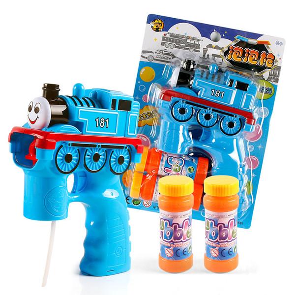 Dibujos animados Bubble Guns Con Bubble Líquido Tren Tren Policía Coche Camión de bomberos Dolphin Sea Boat Red Monkey Encantador automático Bubble Gun Música Led luces
