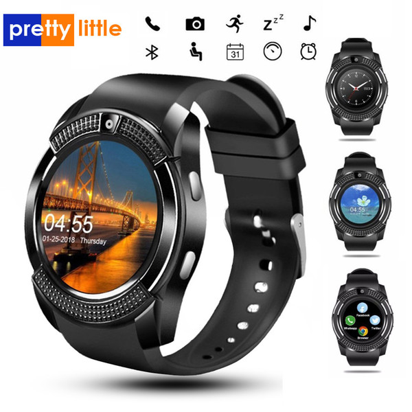 best selling V8 Smart Watch Bluetooth Watches With 0.3M Camera SIM IPS HD Full Circle Display Smartwatch For Android System With Box