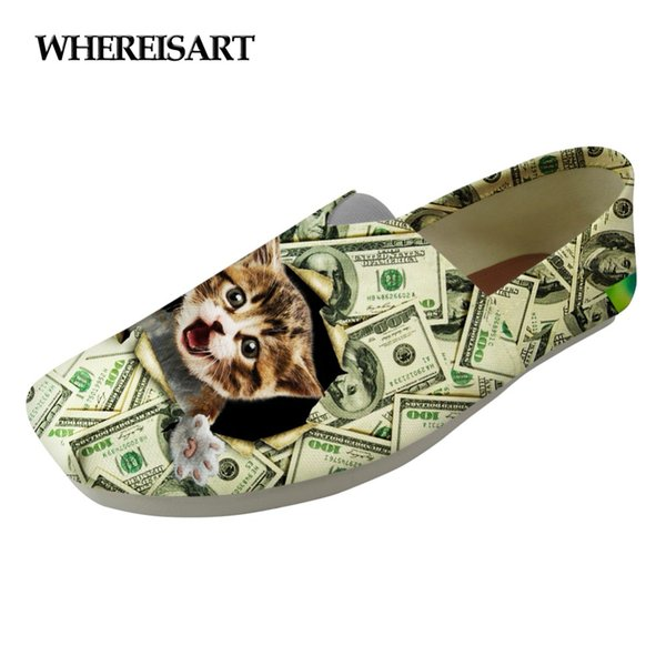 WHEREISART Chaussures Kawaii Animal Cat Imprimé Femmes Chaussures Femme Été Mocassins Casual Chaussures pour Femme Toile Chaussures Femme
