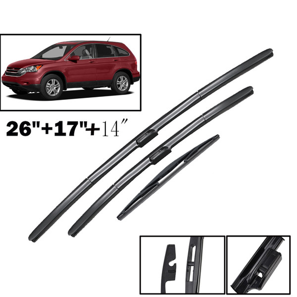 Cheap Windscreen Wipers Erick's Wiper LHD Front & Rear Wiper Blades Set Kit For Honda CRV CR-V 2007 - 2011 MK3 Windshield