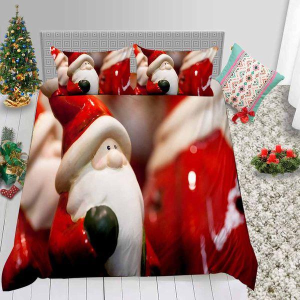 King Size Bedding Set von Santa Puppet Print Nette 3D Bettbezug Weihnachten Königin König Twin Einzelvolldoppelbett-Abdeckung mit Pillowcase