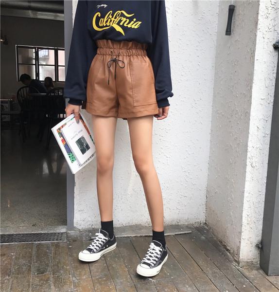 2019 Autumn New Korean Style Female Sexy Shorts High Waist Loose Wide Leg Short Femme Elastic Waist Belt Free Shipping