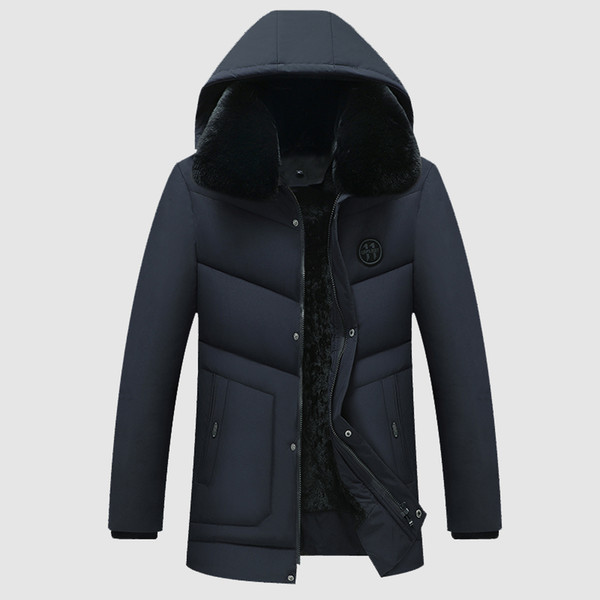Winter New Hooded Parkas Men's Slim Mid-length Cotton Jacket Men's Business Casual Large Size 4XL with Fur Collar Parkas Coats