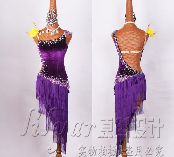 Vestidos De Competição De Dança Latina Realizando Vestidos Liuzhou Saia De Veludo Roxo Bordado Água Diamante Estilo High-end