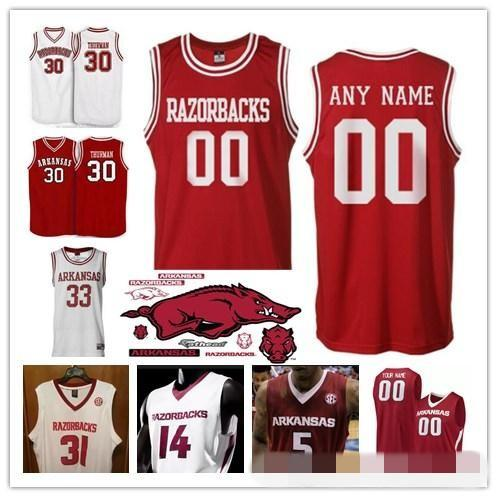 Custom NCAA Arkansas Razorbacks College Basketball Jersey 30 Scotty Thurman  1 Trey Thompson  24 Joe Johnson Customized stitched jerseys 0f36711c7