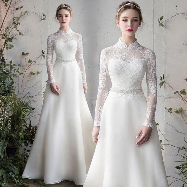 Winter Long Sleeve Wedding Garment New Princess Dream French Vertical Collar Bride's Wedding Dress