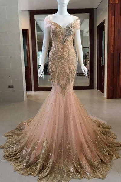 Sparkly Gold Appliques Prom Dresses Long Off the Shoulder Mermaid Evening Gowns Women Cocktail Party Ball Dress Celebrity Formal Gown