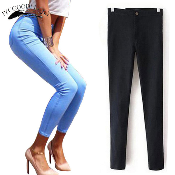 For Stretch Black Woman 2018 Pants Skinny Women With High Waist Denim Blue Ladies Push Up White Jeans C19040401