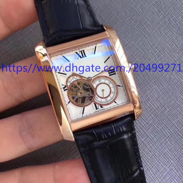 Retro luxury business precision imported advanced automatic mechanical square small plate running seconds tourbillon back belt men's watch